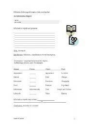 English Worksheet: Information Report Writing