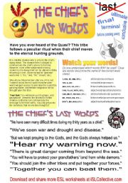 English Worksheet: The Chief�s Last Words (Sentence transformation game)