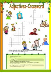 English Worksheet: ADJECTIVES-CROSSWORD (Ex:scared, worried, bored etc.)B&W+KEY included