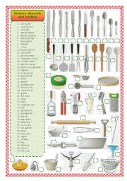 Kitchen utensils and cutlery-matching activity