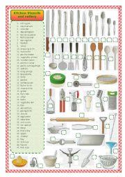 English Worksheet: Kitchen utensils and cutlery-matching activity