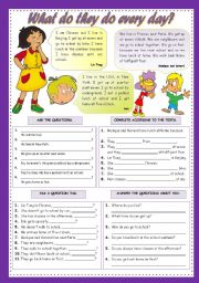 English Worksheets: WHAT DO THEY DO EVERY DAY?