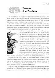English Worksheets: Perseus and Medusa�s Myth