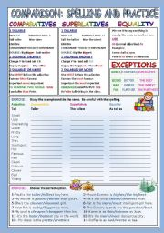 English Worksheet: COMPARISON: SPELLING AND PRACTICE