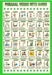 English Worksheet: Phrasal verbs with down 1.