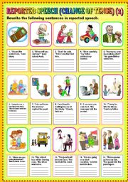 English Worksheets: REPORTED SPEECH (CHANGE OF TENSE) PART 2 + KEY