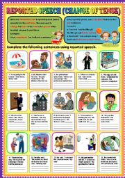 English Worksheets: REPORTED SPEECH (CHANGE OF TENSE) PART 1 + KEY
