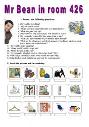 English Worksheet: Mr Bean in room 426 - VIDEO SESSION (19�)