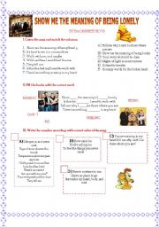 English Worksheets: show me  the meaning of being lonely by backtreet boys