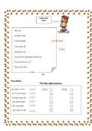 English Worksheets: A lovely letter to Sam