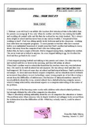 English Worksheet: english test reading ,language and writing