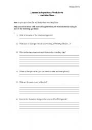 English Worksheets: Watching a film - Learner Independence Worksheet