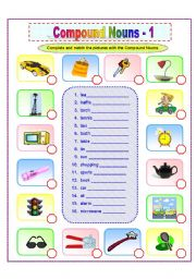 English Worksheets: Compound Nouns -1/2