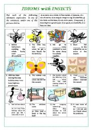 English Worksheet: IDIOMS WITH INSECTS with key