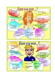 English Worksheet: Have you ever... ?
