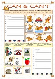 English Worksheet: CAN & CAN´T