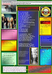 English Worksheet: NOVEMBER RAIN - GUNS N´ ROSES - PART 01 (FULLY EDITABLE)