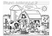 English Worksheet: Farm Animals (Editable)