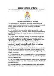 GCSE English Basic Writing Criteria - ESL worksheet by Moozer