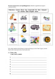 English Worksheets: I have/ I don�t have worksheet