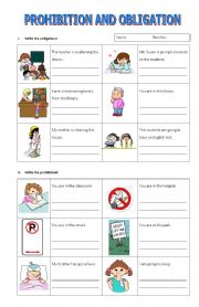 English Worksheet: Prohibition and obligation