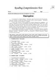 English Worksheets: Reading Comprehension Test_Vampire