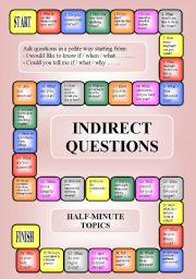 English Worksheet: Indirect questions - a boardgame (key, editable, B/W)