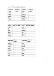 English Worksheet: Forming abstract nouns