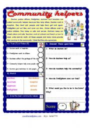 English Worksheet: Community helpers