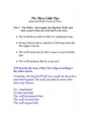 English Worksheets: The 3 Little Pigs from the Big Bad Wolf�s Point of View