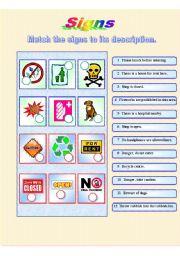 English Worksheets: Signs *** fully editable