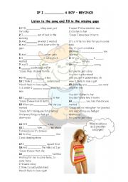 English Worksheet: IF I WERE A BOY - BEYONCE