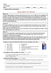 English Worksheet: Test on Young People and Smoking (9th Grade Portuguese Students)