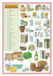 English Worksheet: Containers-matching activity