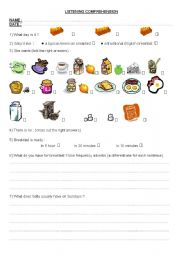 English Worksheet: listening and writing activities about the traditional English breakfast