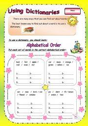 English Worksheets: Using Dicitnaries/ Part 1 ( 2 pages )