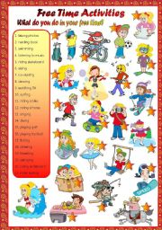 English Worksheets: free time activities-matching