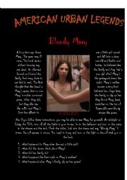 English Worksheet: American Urban Legends - Bloody Mary