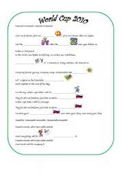 English Worksheet: song World cup 2010 waving flag