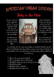 English Worksheet: American Urban Legends - Baby in the Chair