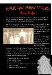 English Worksheet: American Urban Legends - Baby Bridge