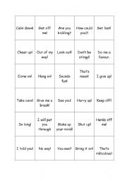 English Worksheet: popular exclamations game