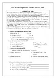 English Worksheets: My girlfriend Mary