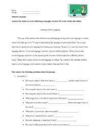 English Worksheets: Sentence analysis