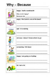 English Worksheets: Why & because