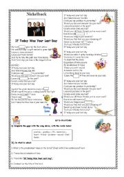 English Worksheet: SONG: If Today Was Your Last Day - Nickelback
