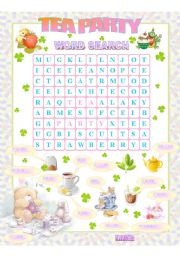 English Worksheet: Tea Party Wordsearch