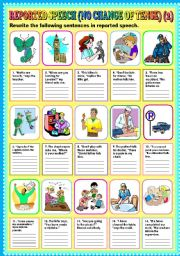 English Worksheets: REPORTED SPEECH (NO CHANGE OF TENSE) PART 2 + KEY