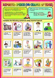 English Worksheets: REPORTED SPEECH (NO CHANGE OF TENSE) PART 1 + KEY
