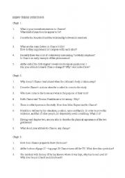 English Worksheets: Study Questions for Being There by Jerzy Kosinski